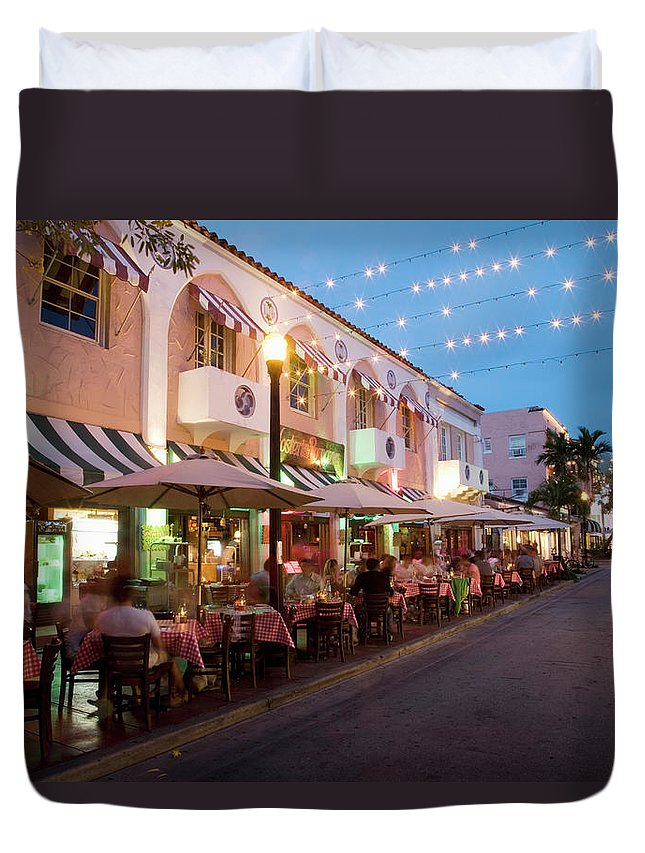 In A Row Duvet Cover featuring the photograph Usa, Florida, Miami Beach. Restaurant by Buena Vista Images