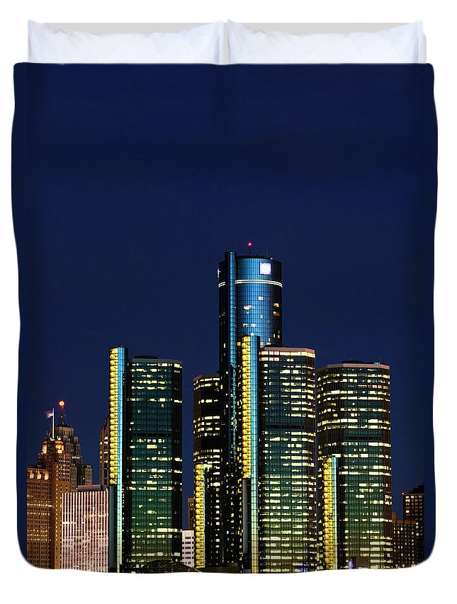 Detroit Duvet Cover featuring the photograph Usa, Michigan, Detroit, Skyline & by Walter Bibikow