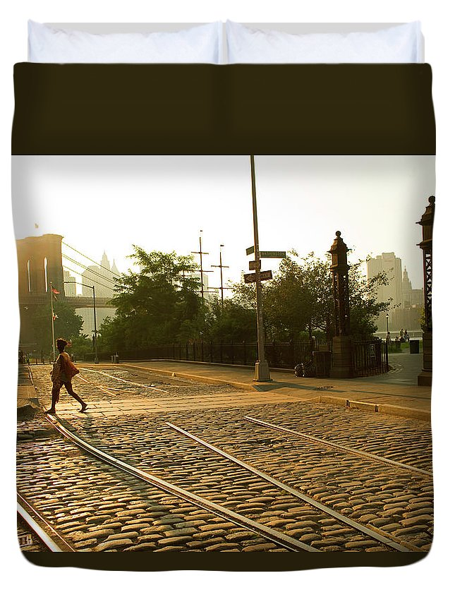 Pedestrian Duvet Cover featuring the photograph Usa, New York, Brooklyn, Woman Crossing by Maremagnum