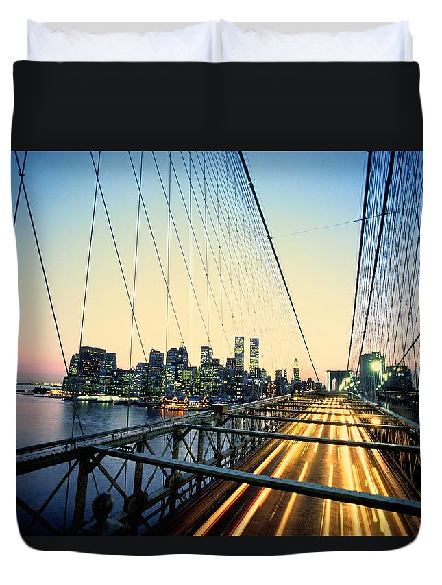 Twin Towers Duvet Cover featuring the photograph Usa, New York City, Manhattan, View by Paul Radenfeld