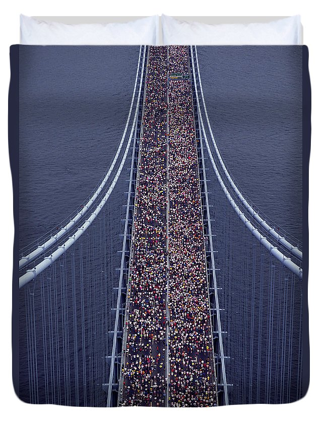 Crowd Duvet Cover featuring the photograph Usa, New York City, Marathon Race by Joanna Mccarthy