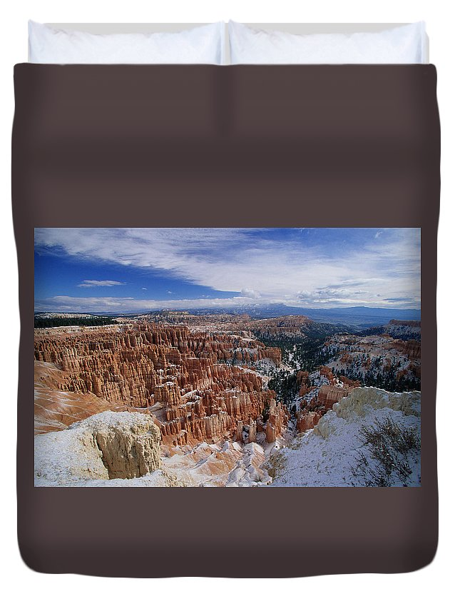 Snow Duvet Cover featuring the photograph Usa, Utah, Winter Bryce Canyon by Stan Osolinski