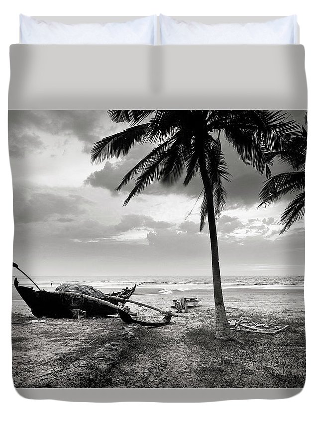 Tranquility Duvet Cover featuring the photograph Uttorda Beach , Goa, India Fishing Boat by Anoop Negi