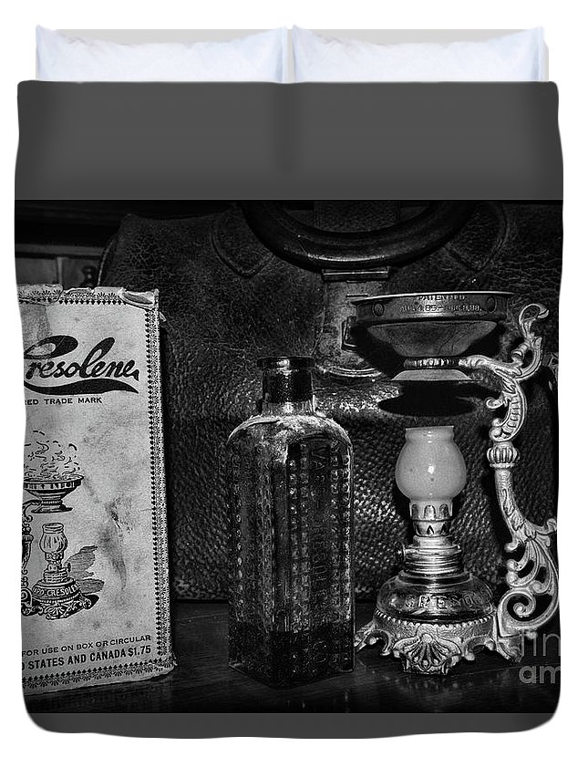 Paul Ward Duvet Cover featuring the photograph Vapo-cresolene Vaporizer And Bottle Respiratory Remedy Black And White by Paul Ward