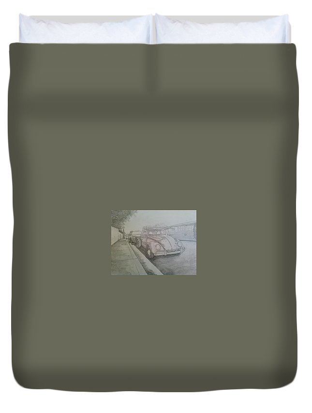 Drawing Of Vw Duvet Cover featuring the drawing Vdub by Andrew Johnson