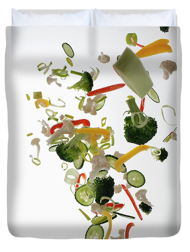 Broccoli Duvet Cover featuring the photograph Vegetables Against A White Background by Dual Dual