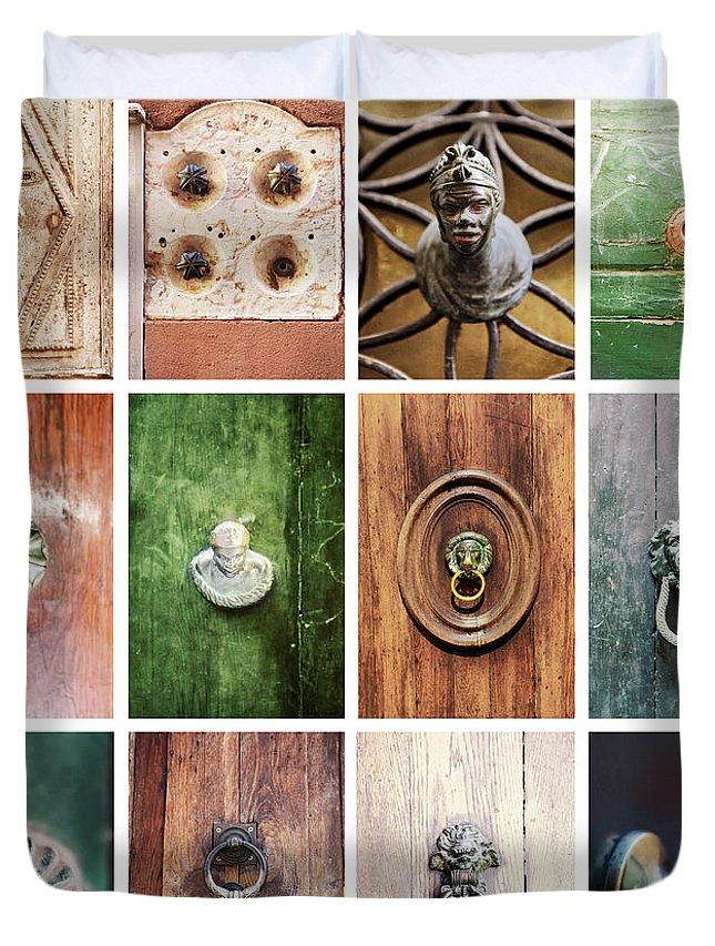 Veneto Duvet Cover featuring the photograph Venetian Door Knobs by Dori Oconnell
