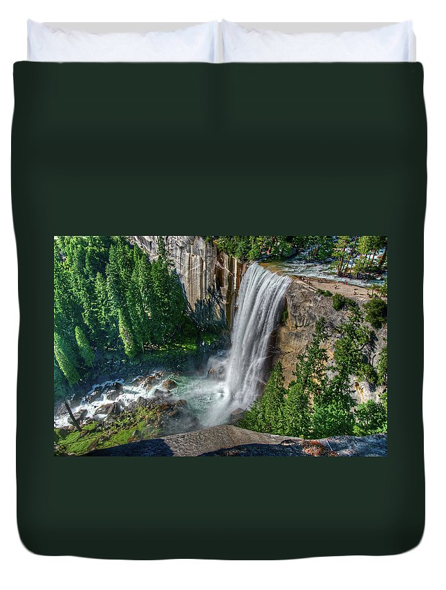 Scenics Duvet Cover featuring the photograph Vernal Falls by Aaron Meyers