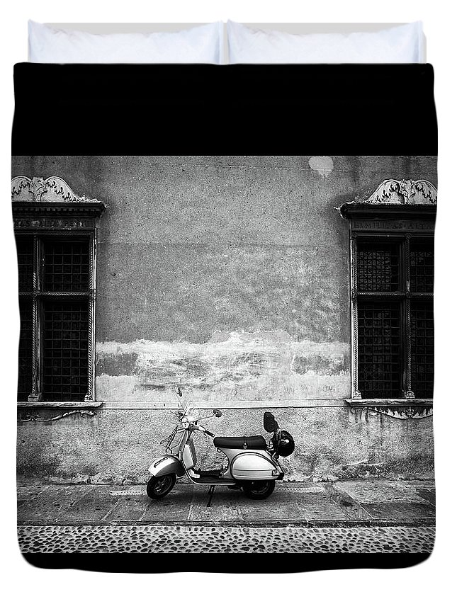 Two Objects Duvet Cover featuring the photograph Vespa Piaggio. Black And White by Claudio.arnese