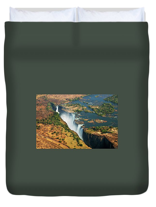 Scenics Duvet Cover featuring the photograph Victoria Falls, Zambia by © Pascal Boegli