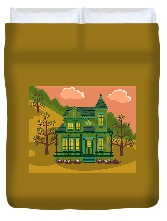 Victorian Style Duvet Cover featuring the digital art Victorian House by Sam Morrison