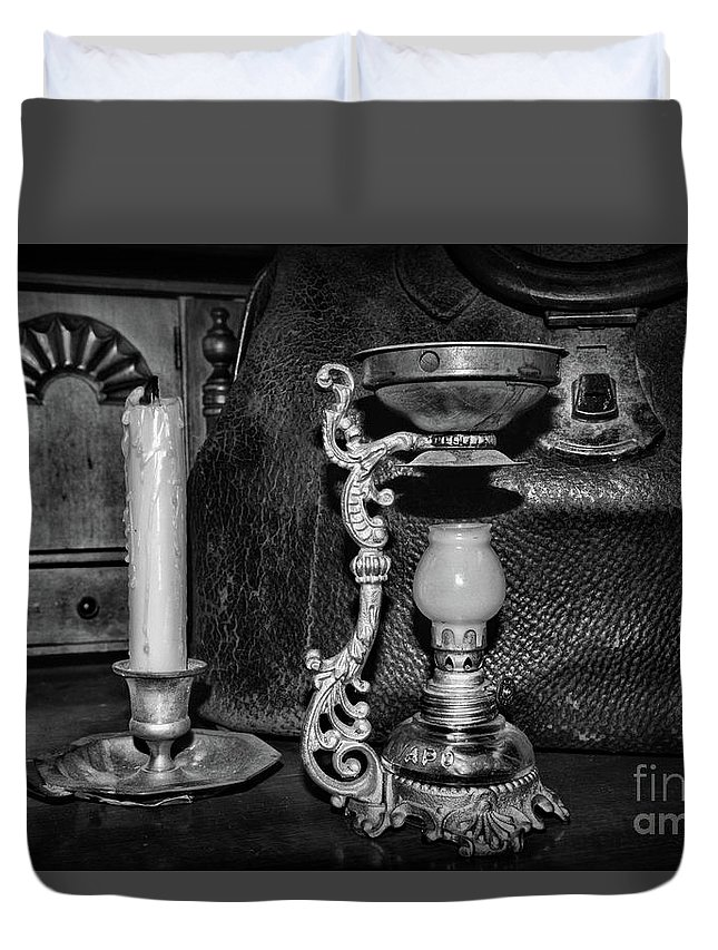 Paul Ward Duvet Cover featuring the photograph Victorian Medical Device Vapo Cresolene Vaporizer Bw by Paul Ward