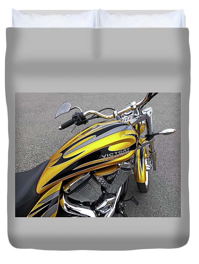 Motorcycle Duvet Cover featuring the photograph Victory Motorcycle 106 Gas Tank And V-twin Engine by Gill Billington