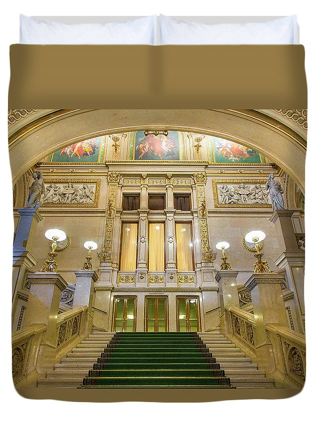 History Duvet Cover featuring the photograph Vienna Opera House, The Main Hall by Sylvain Sonnet