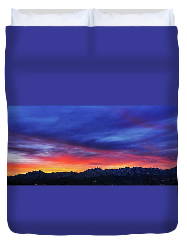 Scenics Duvet Cover featuring the photograph View Of City by Utah-based Photographer Ryan Houston