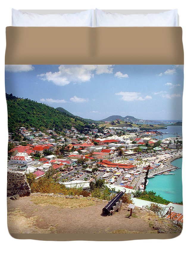 Scenics Duvet Cover featuring the photograph View Of Marigot Bay From St. Louis by Medioimages/photodisc