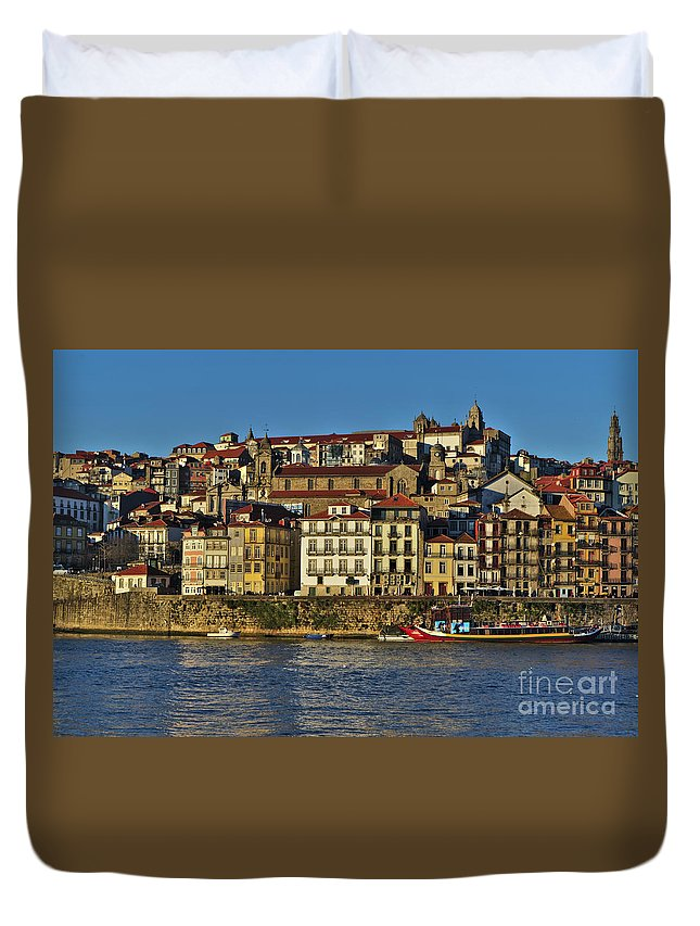 Porto Duvet Cover featuring the photograph View Of Porto And Douro River by Angelo DeVal