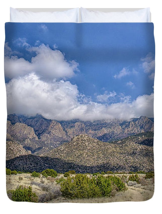 Southwest Usa Duvet Cover featuring the photograph View Of Sandia Mountain by Alan Toepfer