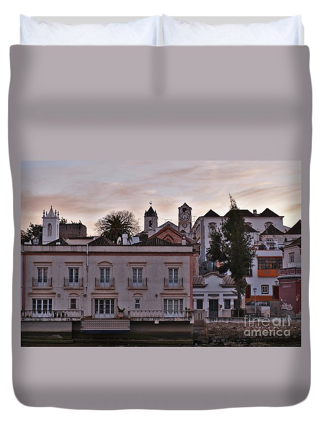 Portugal Duvet Cover featuring the photograph View Of Tavira From Gilaos River Bank by Angelo DeVal
