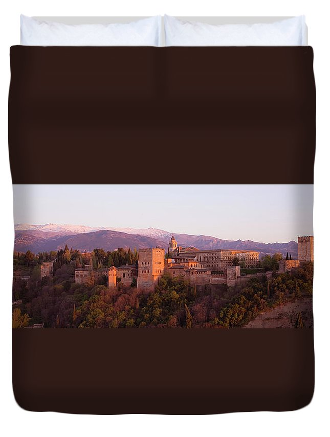 Scenics Duvet Cover featuring the photograph View To The Alhambra At Sunset by David C Tomlinson