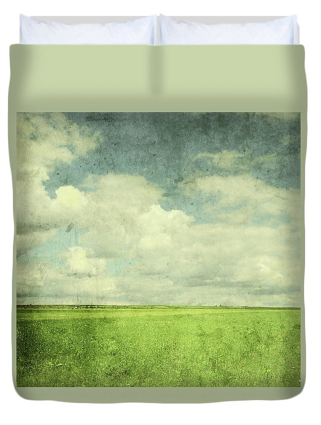 Scenics Duvet Cover featuring the photograph Vintage Image Of Green Field And Blue by Jasmina007