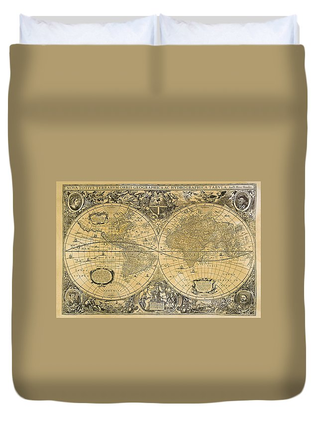 Latitude Duvet Cover featuring the digital art Vintage Map Of The World by Comstock