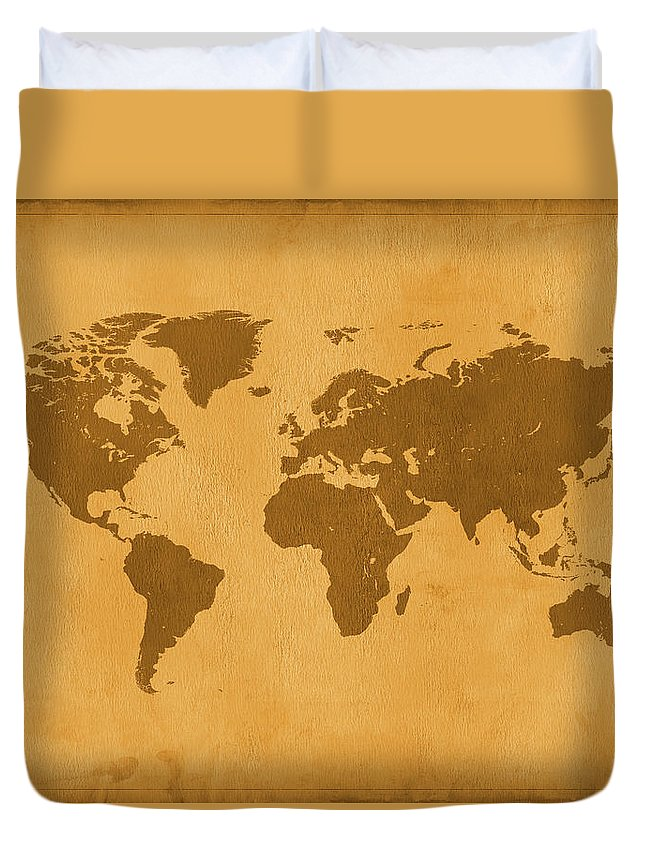 Material Duvet Cover featuring the photograph Vintage Map Of The World In Brown by Yorkfoto