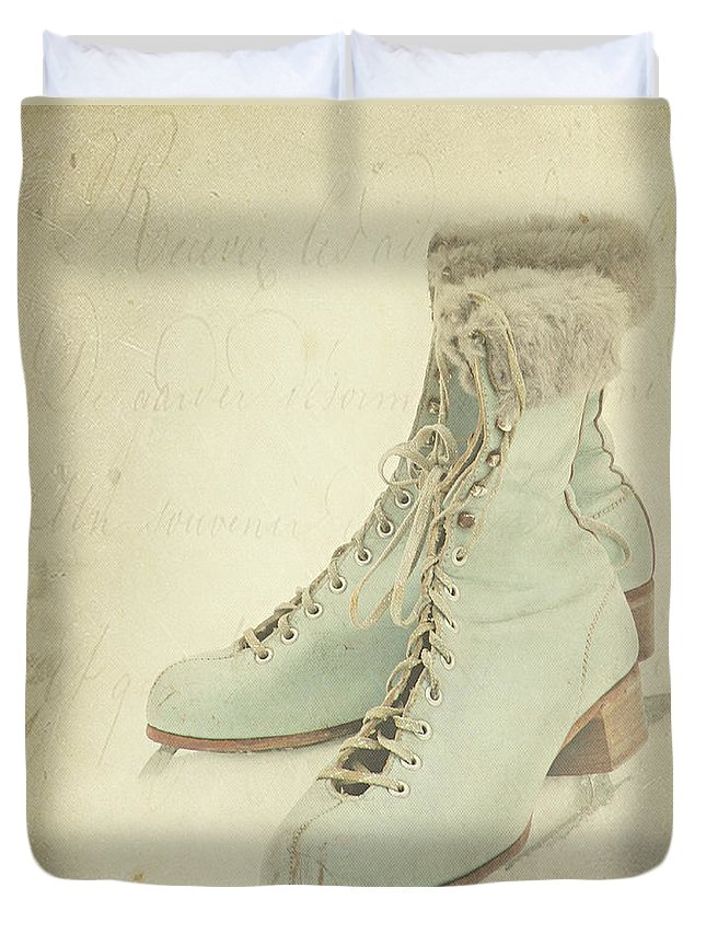 Snow Duvet Cover featuring the photograph Vintage Teal Skates by My Vintage Gardens Photography
