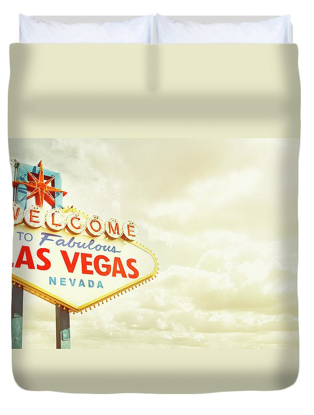 Panoramic Duvet Cover featuring the photograph Vintage Welcome To Fabulous Las Vegas by Powerofforever