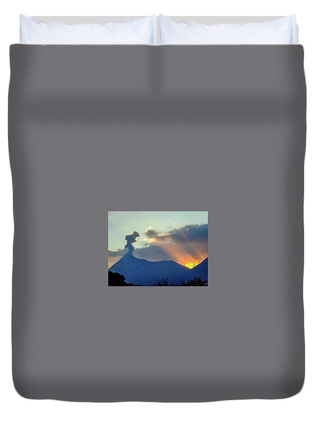 Volcan Duvet Cover featuring the photograph Volcan De Fuego by Matias Feucht