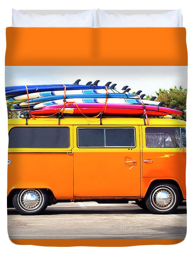 Youth Culture Duvet Cover featuring the photograph Volkswagen Bus With Surf Boards by Pete Starman