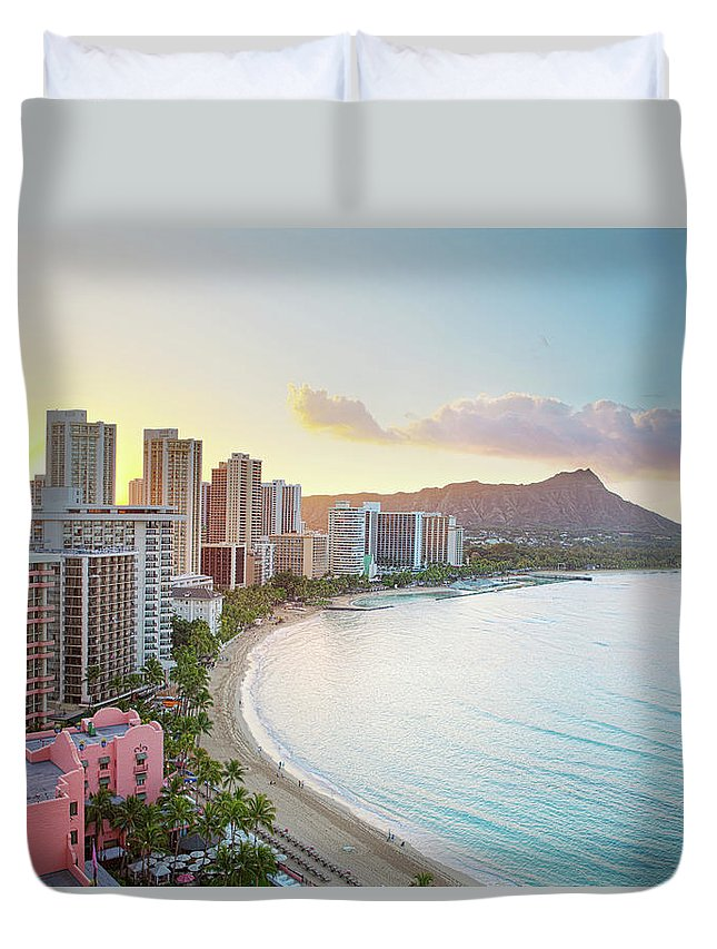 Scenics Duvet Cover featuring the photograph Waikiki Beach At Sunrise by M Swiet Productions