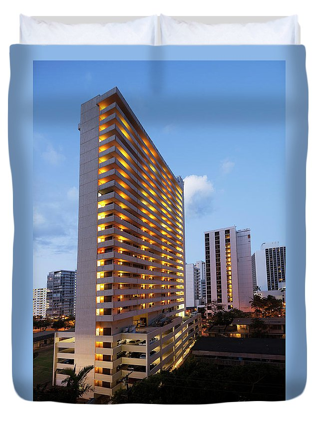 Honolulu Duvet Cover featuring the photograph Waikiki Morning by Slobo