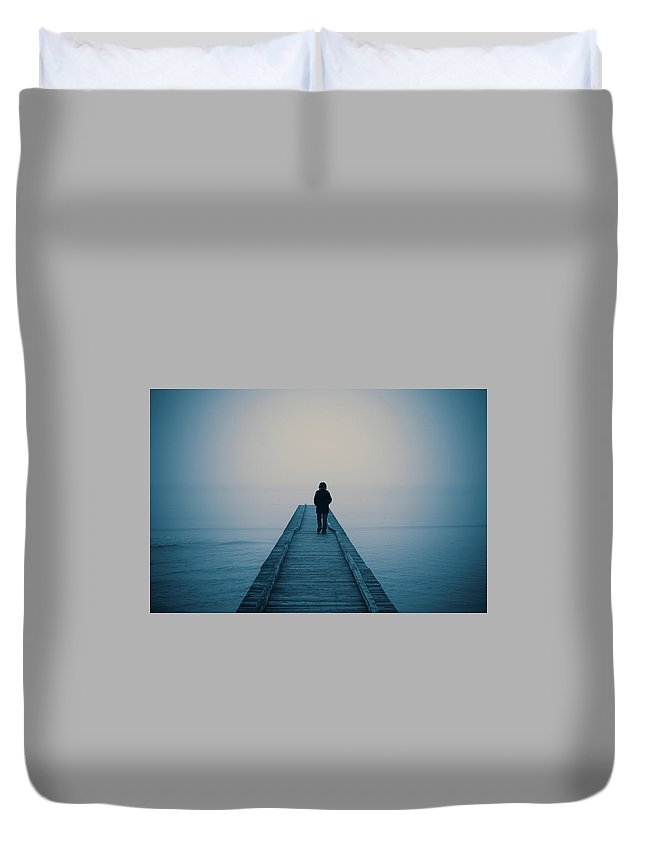 Mental Health Duvet Cover featuring the photograph Walking Alone by Profeta