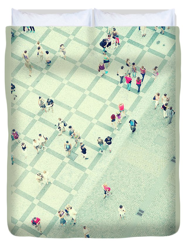 Pedestrian Duvet Cover featuring the photograph Walking People by Carlo A