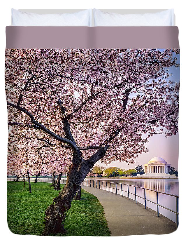 Tidal Basin Duvet Cover featuring the photograph Washington Dc Cherry Trees, Footpath by Dszc