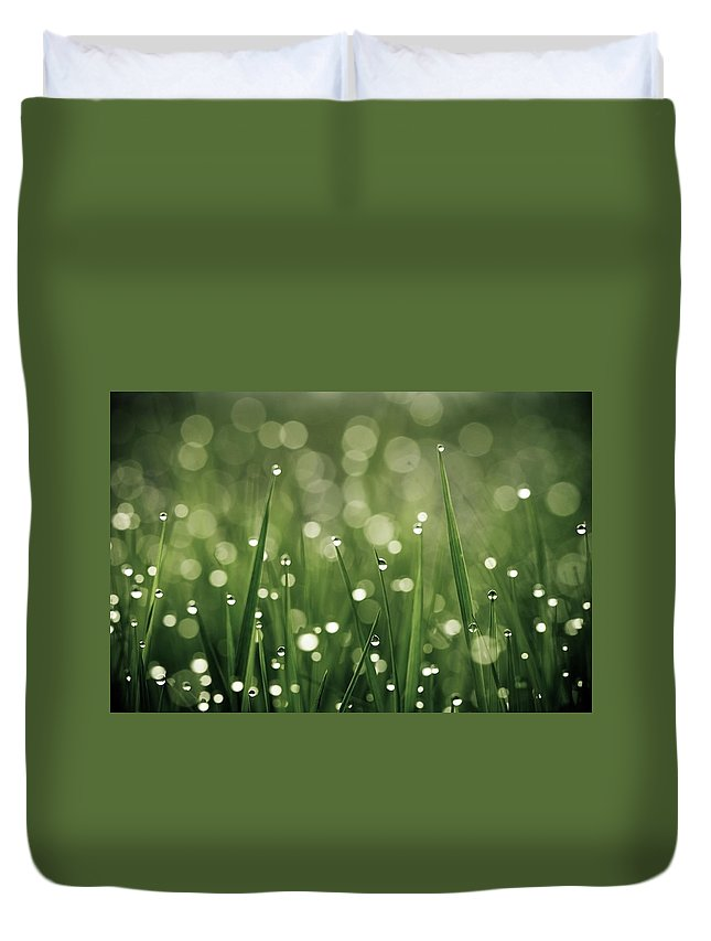 Grass Duvet Cover featuring the photograph Water Drops On Grass by Florence Barreau