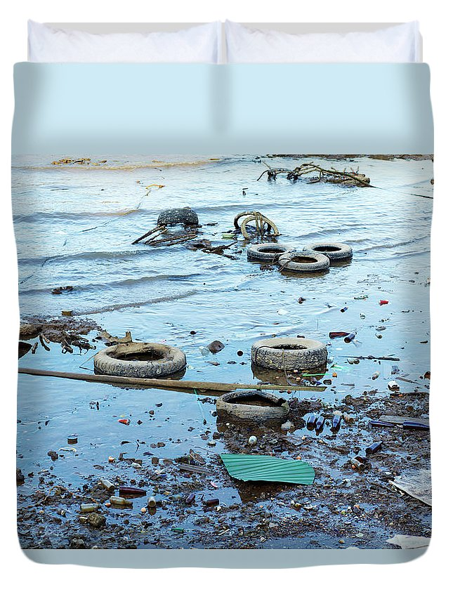 Water's Edge Duvet Cover featuring the photograph Water Pollution by Drbouz