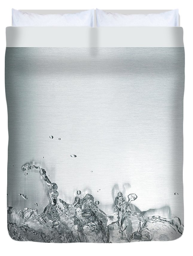 Underwater Duvet Cover featuring the photograph Water Splash by Plainview