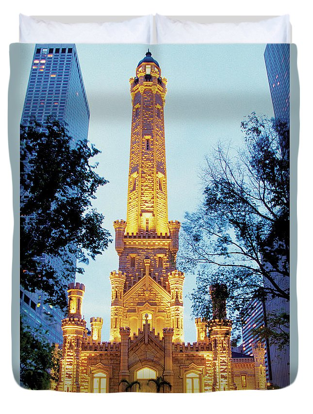 Travel16 Duvet Cover featuring the photograph Water Tower At Night In Chicago by Medioimages/photodisc