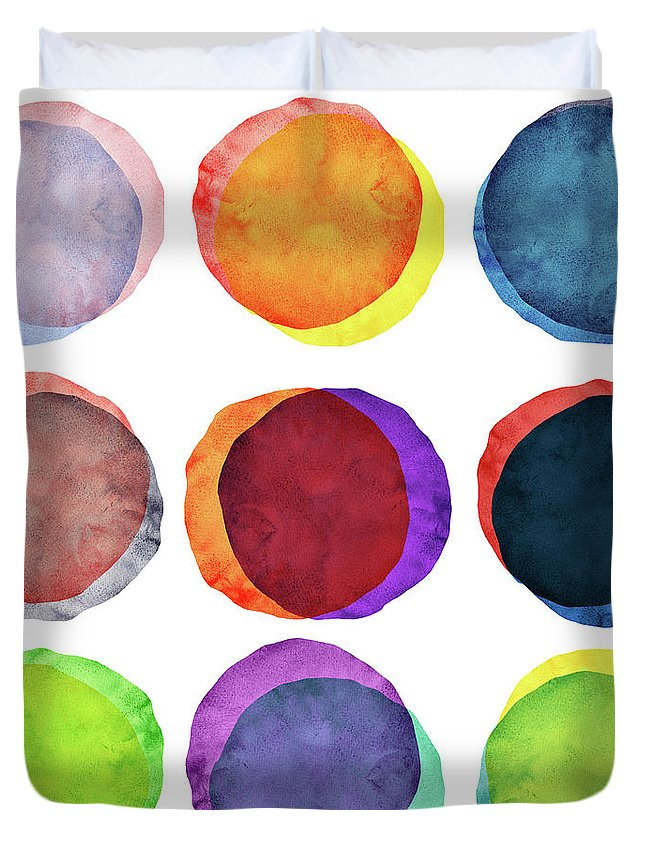 Watercolor Painting Duvet Cover featuring the photograph Watercolor Painted Circles Various by Momentousphotovideo