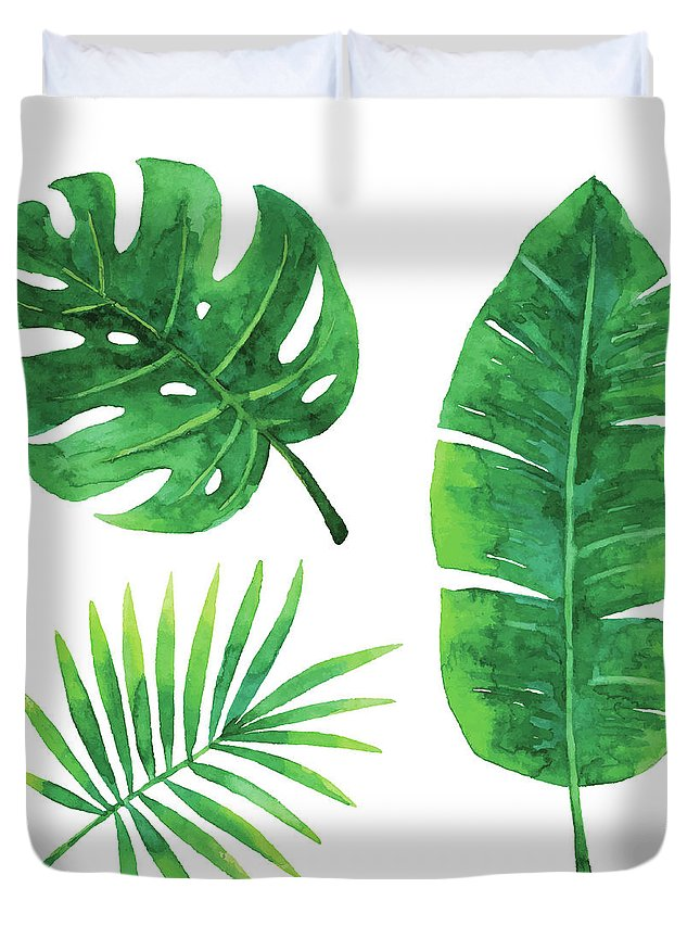 Tropical Rainforest Duvet Cover featuring the digital art Watercolor Tropical Leaves by Saemilee