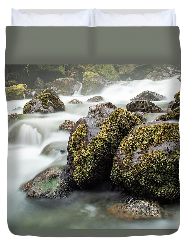 Tranquility Duvet Cover featuring the photograph Waterfall, Bc, Canada by Paul Souders