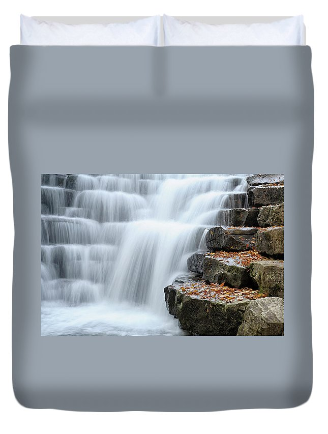 Steps Duvet Cover featuring the photograph Waterfall Flowing Over Rock Stair by Catnap72