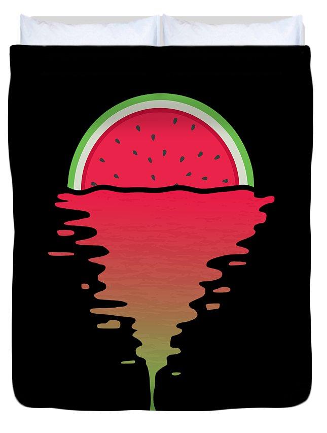 Watermelon Duvet Cover featuring the digital art Watermelon Sunset by Filip Schpindel