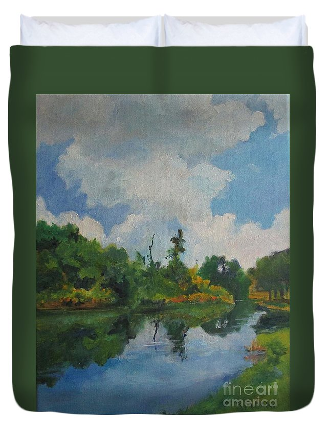 Barbara Moak Duvet Cover featuring the painting Waterway At Millennium Garden by Barbara Moak