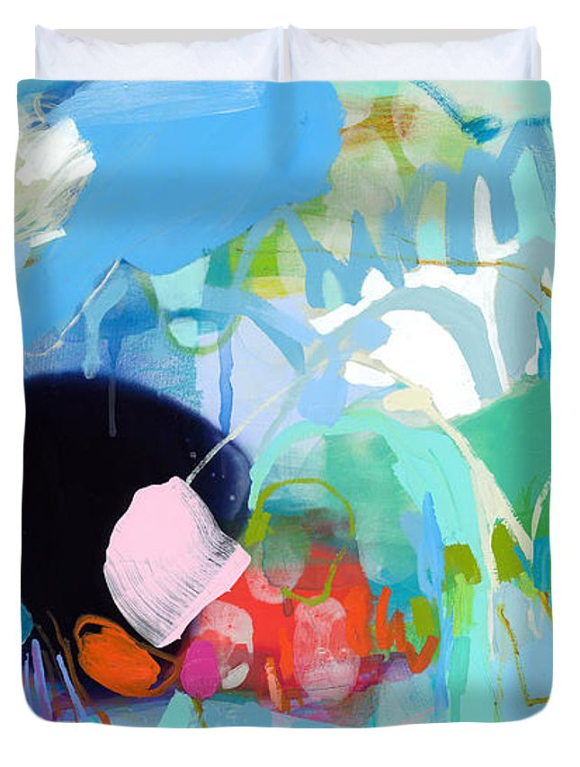 Abstract Duvet Cover featuring the painting West Coast Wanderlust by Claire Desjardins