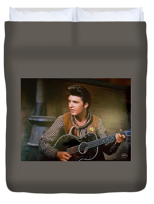 Ricky Nelson Dean Martin John Wayne Country Western Stage Concert Singer Star Entertainer Tv Music Musician Gun Slinger Cowboy Deputy Sheriff The Of To And A In Is It You He Was For On Are As I His Be One Or Had By We Can All Up An She Do If So Her With That They Have But Were Then Word Make Like Our Rkc Ron Ronald K Chambers Duvet Cover featuring the photograph Western Ricky Nelson by Ron Chambers