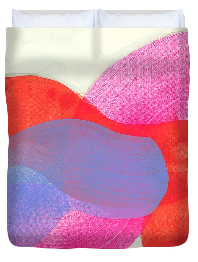 Abstract Duvet Cover featuring the painting What To Say? by Claire Desjardins