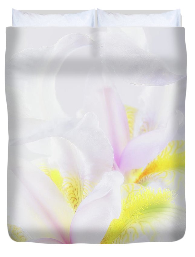 Iris Duvet Cover featuring the photograph White Iris by Leland D Howard